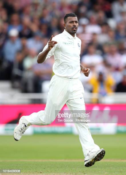 India's Hardik Pandya celebrates the wicket of England's Adil Rashid during day two of the Specsavers Third Test match at Trent Bridge Nottingham
