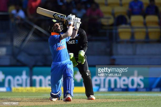 India's Hardik Pandya hits a six during the fifth oneday international cricket match between New Zealand and India in Wellington on February 3 2019