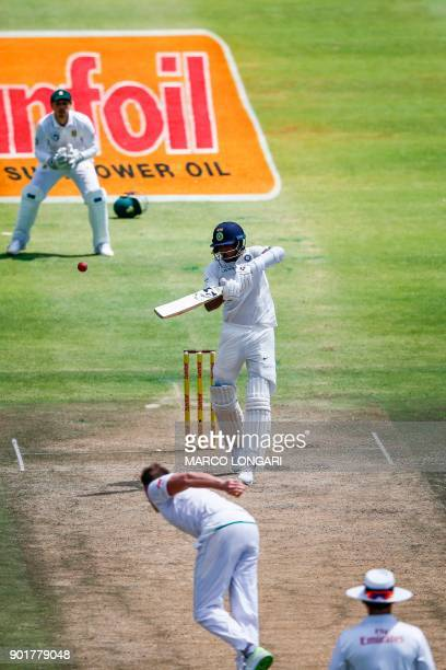 India's Hardik Pandya plays a four to score half a century during day two of the First Test between South Africa and India in Cape Town on January 6...