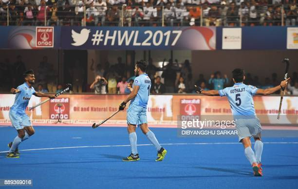 India's Harmanpreet Singh celebrates after scoring the second goal against Germany during their third place playoff of the Hockey World League match...