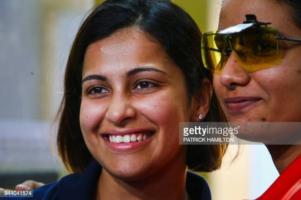 India's Heena Sidhu smiles following the women's 25m pistol shooting final during the 2018 Gold Coast Commonwealth Games at the Belmont Shooting...