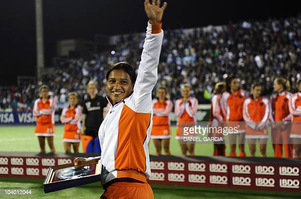 India's hockey player Rani Rampal waves after she was chosen the best young player of the Women World Cup 2010 in Rosario Argentina on 11 September...