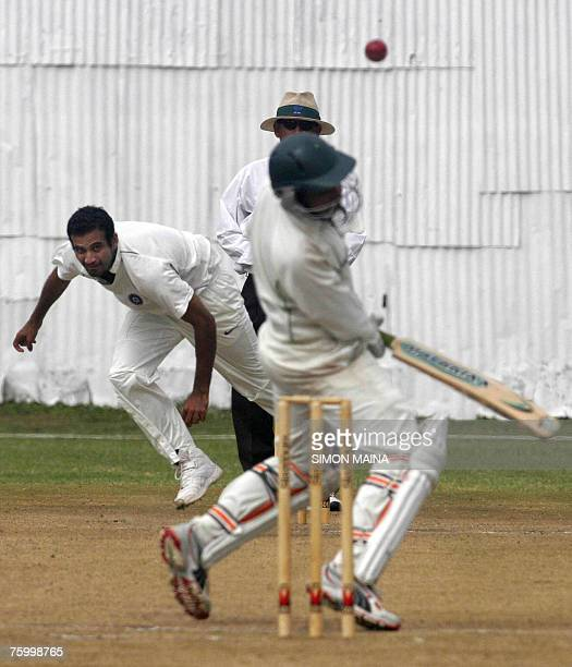 India's Irfan Pathan bowls against Kenya's batsman Hiren Viraiya 07 August 2007 during their three day match at the Mombasa Sports Club Ongondo was...