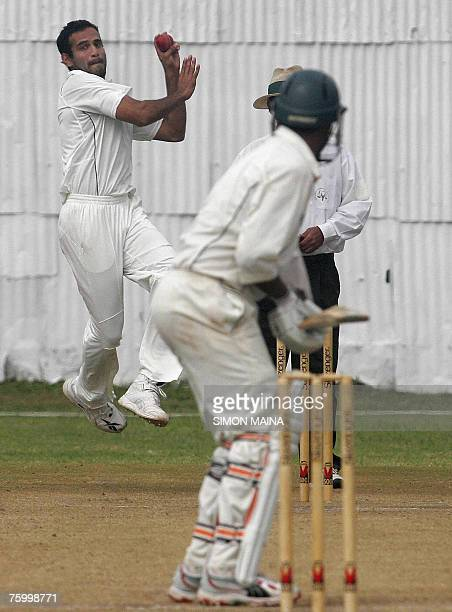 India's Irfan Pathan bowls against Kenya's batsman Hiren Viraiya 07 August 2007 during their three day match at the Mombasa Sports Club India won the...
