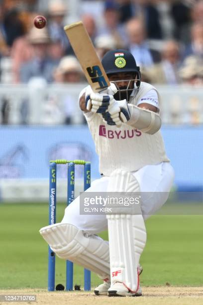 India's Ishant Sharma avoids a short ball on the fifth and final day of the second cricket Test match between England and India at Lord's cricket...