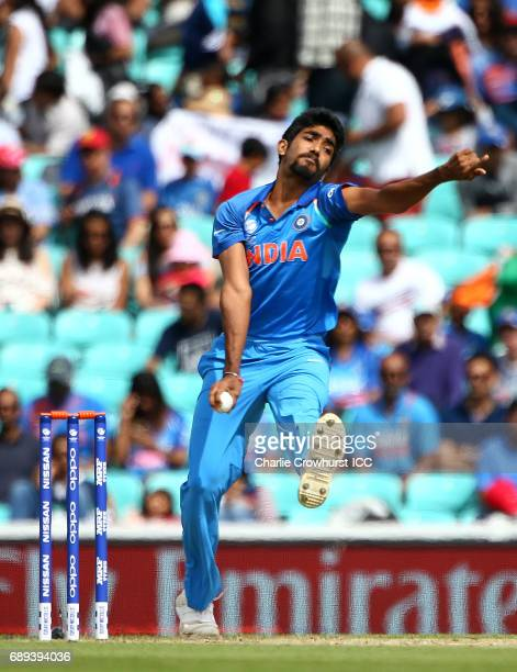 India's Jasprit Bumrah bowls during the ICC Champions Trophy Warmup match between India and New Zealand at The Kia Oval on May 28 2017 in London...