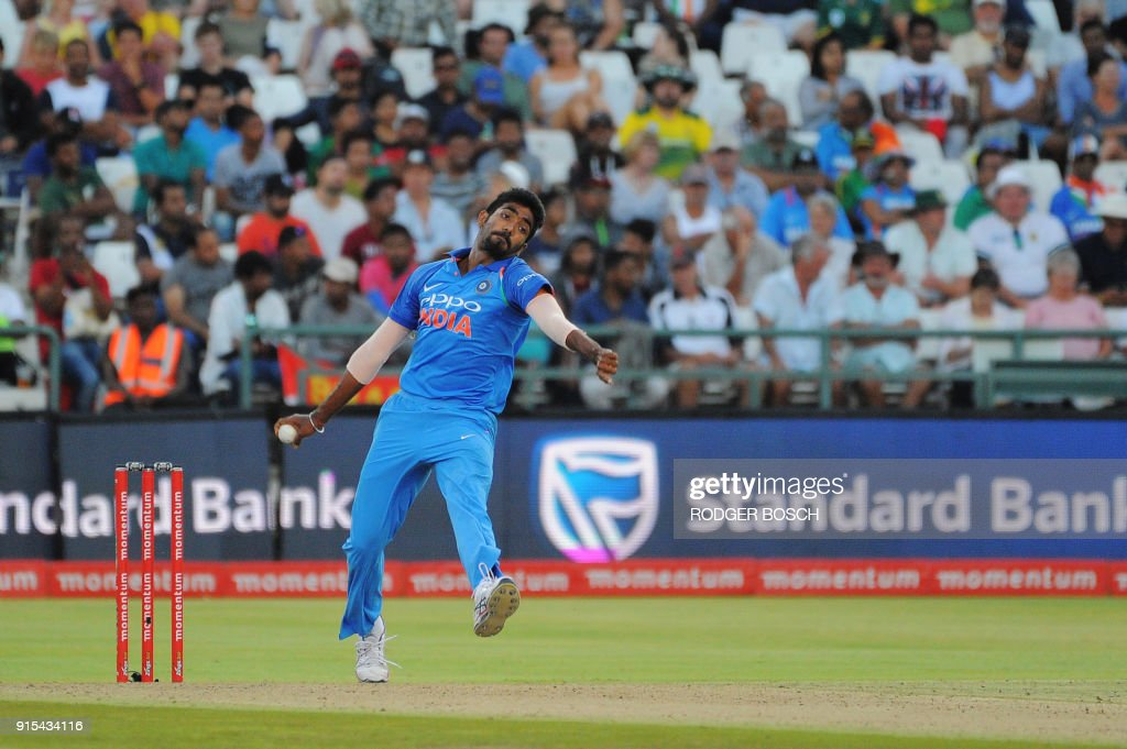 India's Jasprit Bumrah bowls during the One Day International (ODI) cricket match between India and South Africa at Newlands Stadium on February 7, 2018, in Cape Town. /