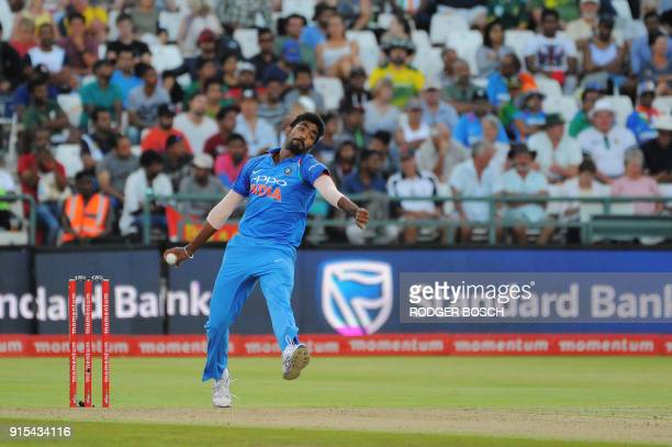 India's Jasprit Bumrah bowls during the One Day International cricket match between India and South Africa at Newlands Stadium on February 7 in Cape...