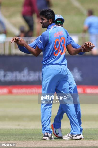 India's Jasprit Bumrah celebrates a wicket during the first One Day International cricket match between South Africa and India at Kingsmead cricket...