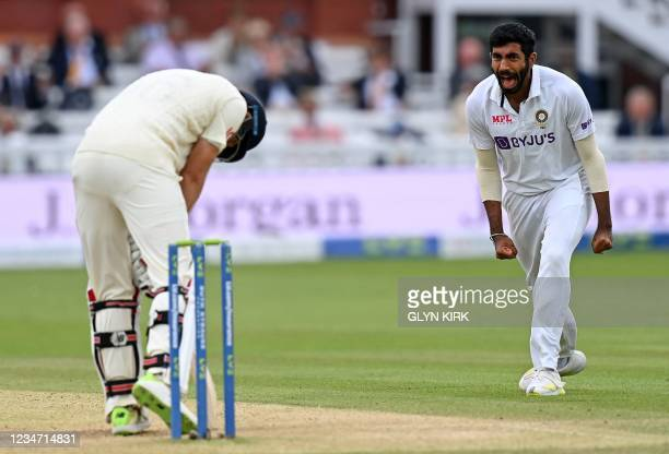 India's Jasprit Bumrah celebrates dismissing England's captain Joe Root for 33 runs on the fifth and final day of the second cricket Test match...