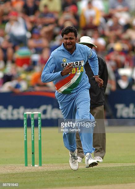 India's Javagal Srinath snares the wicket of New Zealand Black Caps Nathan Astle for 15 in the fourth one day international cricket match at the...