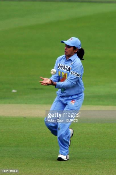 India's Jhulan Goswami catches a ball from England's Jenny Gunn