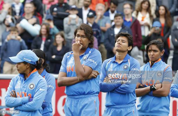India's Jhulan Goswami waits to receive a runners up medal after losing the ICC Women's World Cup cricket final between England and India at Lord's...