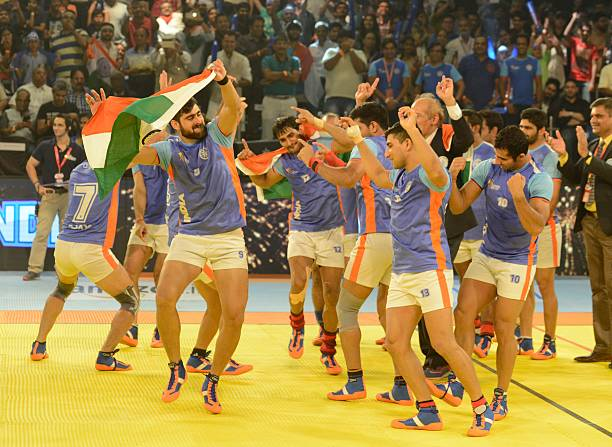 India`s kabaddi players perform the Punjabregion traditional `Bhangra` dance after winning against Iran in the finals of the Kabaddi World Cup 2016...