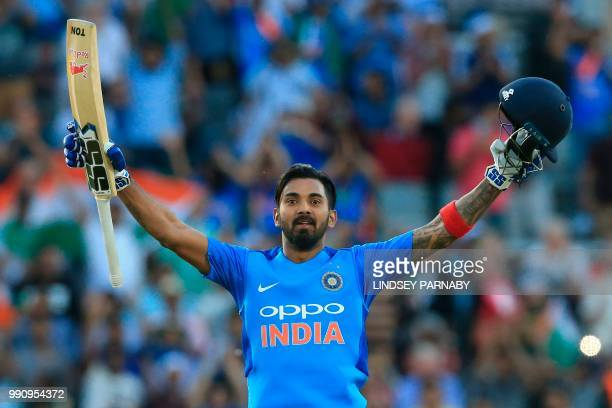 India's Kannanur Lokesh Rahul celebrates scoring his century during the international Twenty20 cricket match between England and India at Old...