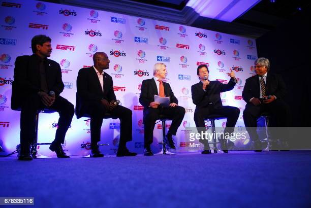 India's Kapil Dev West Indies' Vivian Richards ESPN STAR Sports presenter Alan Wilkins Pakistan's Imran Khan and Sri Lanka's Arjuna Ranatunga all...