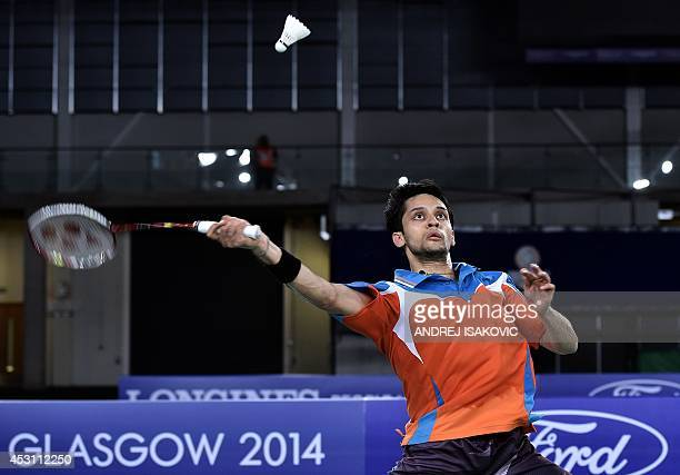 India's Kashyap Parupalli hits a return against Singapore's Derek Wong during the men's singles badminton gold medal final match at the Emirates...