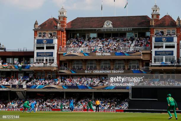 India's Kedar Jadhav bats in front of the pavilion during the ICC Champions Trophy final cricket match between India and Pakistan at The Oval in...