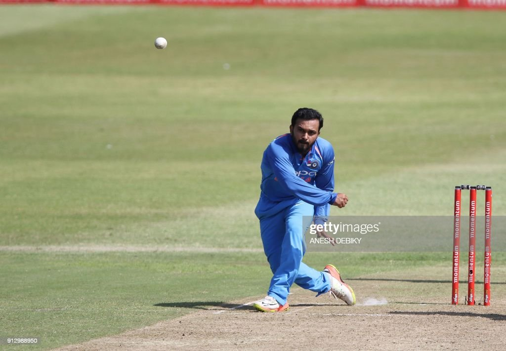 India's Kedar Yadhav bowls during the first One Day International cricket match between South Africa and India at Kingsmead cricket ground on February 1, 2018 in Durban. /