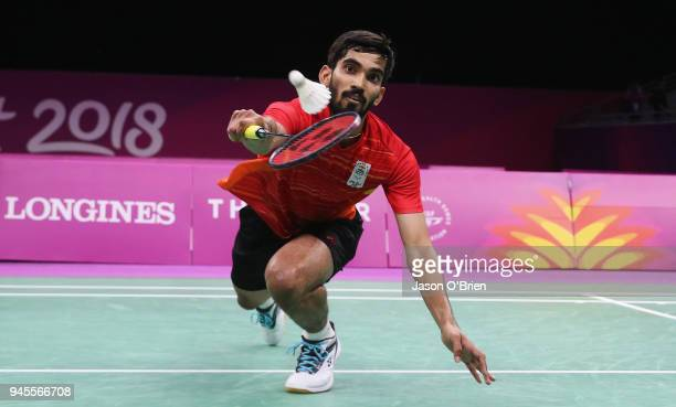 India's Kidambi Srikanth competes in the Men's quarter Finals during Badminton on day nine of the Gold Coast 2018 Commonwealth Games at Carrara...