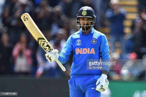 India's KL Rahul celebrates reaching his century during the 2019 Cricket World Cup warm up match between Bangladesh v India at Sophia Gardens stadium...
