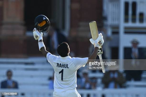 India's KL Rahul celebrates scoring a century on the first day of the second cricket Test match between England and India at Lord's cricket ground in...