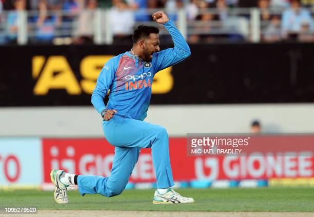 India's Krunal Pandya celebrates the wicket of New Zealand's Kane Williamson during the second Twenty20 international cricket match between New...
