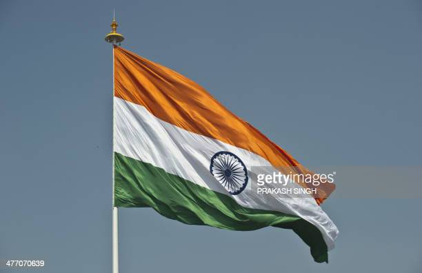 India's largest national flag flies from the highest flagpole in New Delhi on March 7 2014 The Flag Foundation of India hoisted the largest flag in...