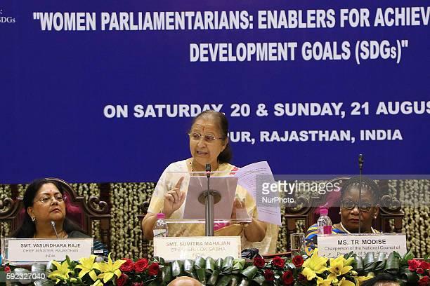 India's Lok Sabha Speaker Sumitra Mahajan addresses during Meeting of BRICS Women Parliamentarians Forum' Women Parliamentarians Enablers for...