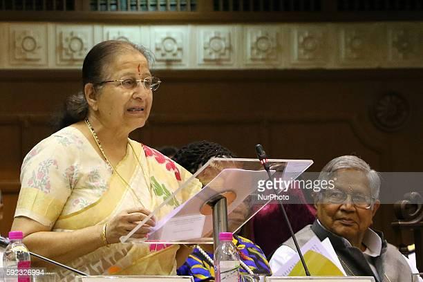 India's Lok Sabha Speaker Sumitra Mahajan addressing during Meeting of BRICS Women Parliamentarians Forum' Women Parliamentarians Enablers for...