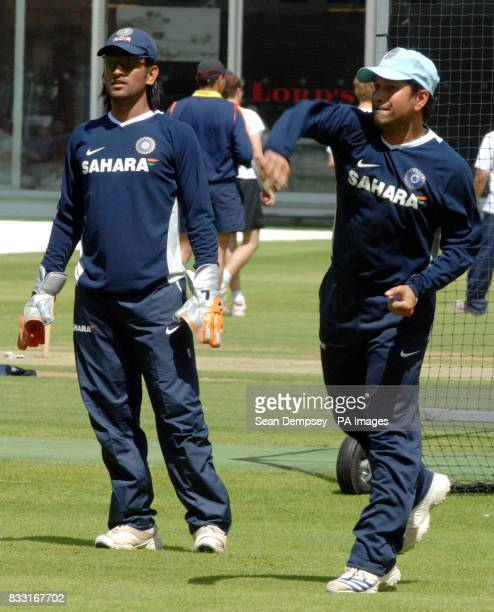 India's Mahendra Singh Dhoni and Sachin Tendulkar during a nets session at Lord's Cricket Ground, London.