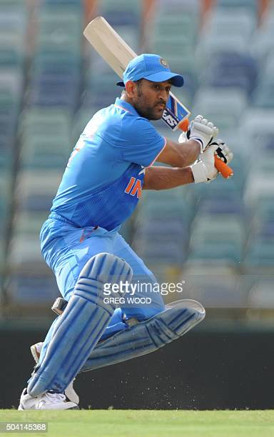 India's Mahendra Singh Dhoni plays a shot during the oneday cricket match between India and a Western Australian XI in Perth on January 9 2016 AFP...