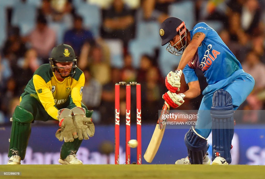 India's Manish Pandey bats during the second T20I cricket match between South Africa and India at Super Sport Park Stadium in Pretoria on February 21, 2018. / AFP PHOTO / Christiaan Kotze