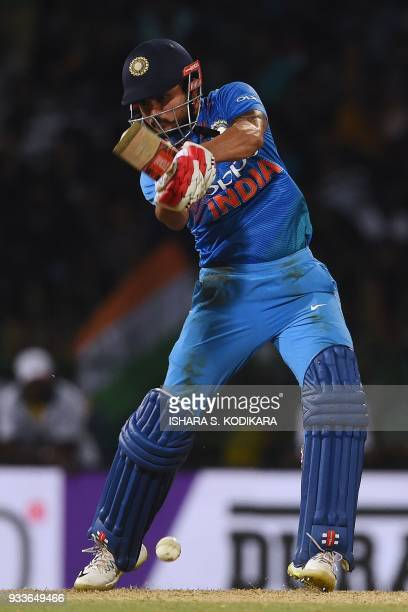 India's Manish Pandey plays a shot during the final Nidahas Twenty20 TriSeries international cricket match between India and Bangladesh at the R...