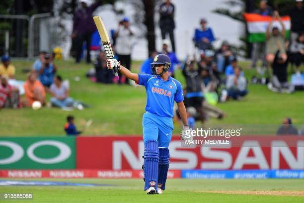 India's Manjot Kalra celebrates reaching his halfcentury during the U19 cricket World Cup final match between India and Australia at Bay Oval in...