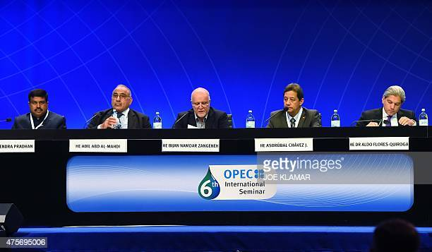 India's Minister for Petroleum and Natural Gas Dharmendra Pradhan Minister of Oil of Iraq Adil Abd AlMahdi Minister of oil of Iran Namdar Zangeneh...