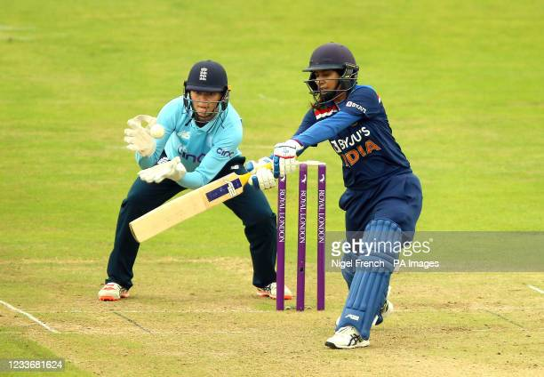 India's Mithali Raj in action during the Women's One-Day International match at the Bristol County Ground. Picture date: Sunday June 27, 2021.