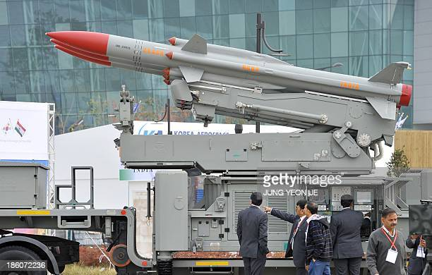 India's mobile surfacetoair missile defense system 'Akash' is displayed during a press day of the Seoul International Aerospace and Defense...