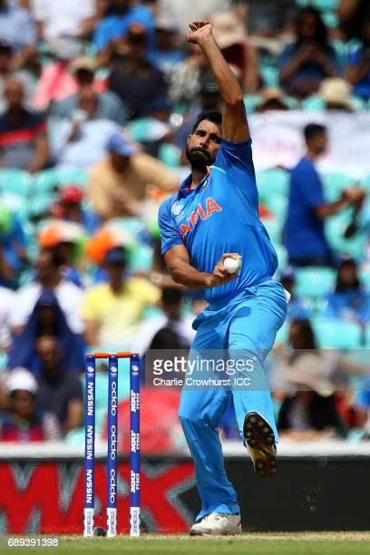 India's Mohammed Shami bowls during the ICC Champions Trophy Warmup match between India and New Zealand at The Kia Oval on May 28 2017 in London...