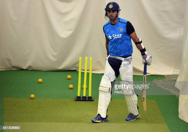 India's Murali Vijay prepares to bat in the indoor nets during a rain affected second day of the cricket Tour Match between Leicestershire and India...