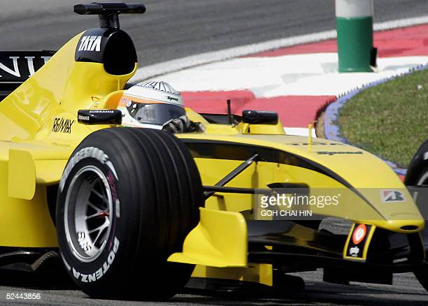 India's Narain Karthikeyan takes his Jordan out during the first free practice session of the Formula One Malaysian Grand Prix at the Sepang...
