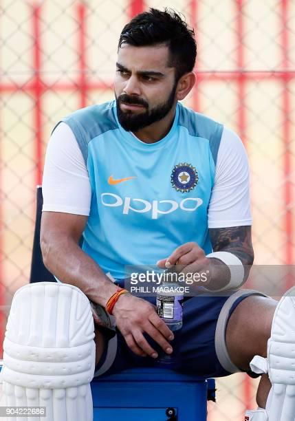 India's national cricket team captain Virat Kohli takes part in a training session at Supersport Park cricket ground on January 12 2018 in Centurion...