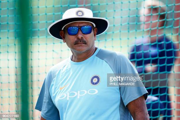 India's national cricket team head coach Ravi Shastri look on during a training session at Supersport Park cricket ground on January 12 2018 in...