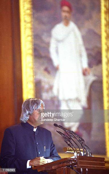 India's new President A P J Abdul Kalam addresses the parliament after his swearing in ceremony July 25 2002 in New Delhi India The 71yearold...