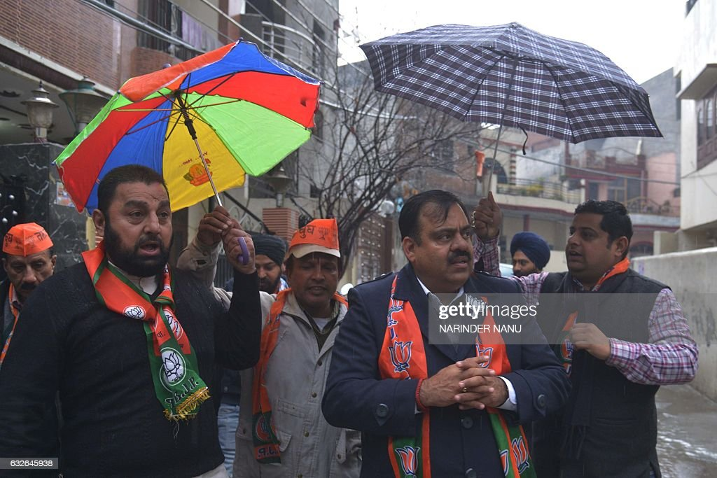 India`s opposition party Bhartiya Janata Party candidate for Member of Legislative Assembly in Amritsar Tarun Chugh taks part in a campaign event in..