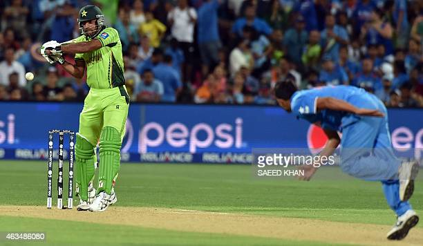 India's paceman Mohammed Shami bowls to Pakistan's batsman Wahab Riaz during the Pool B 2015 Cricket World Cup match between India and Pakistan at...