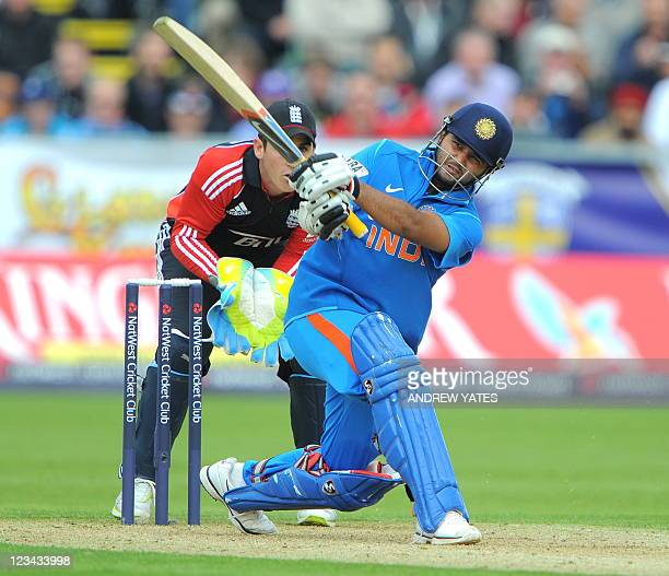 India's Parthiv Patel bats watched by England's Craig Kieswetter during the one day cricket match between England and India at the Riverside cricket...