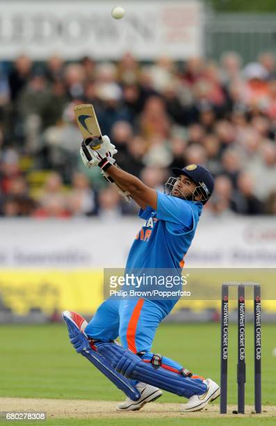 India's Parthiv Patel hits a four during the first oneday international cricket match against England at the Riverside cricket ground in Chester le...