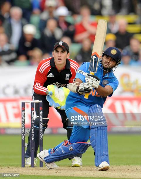 India's Parthiv Patel hits out watched by England's Craig Kieswetter during the first oneday international cricket match at the Riverside cricket...