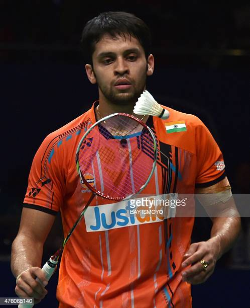 India's Parupalli Kashyap eyes the shuttlecock during the men singles semifinal rounds of Indonesia Open badminton tournament against Japan's Kento...